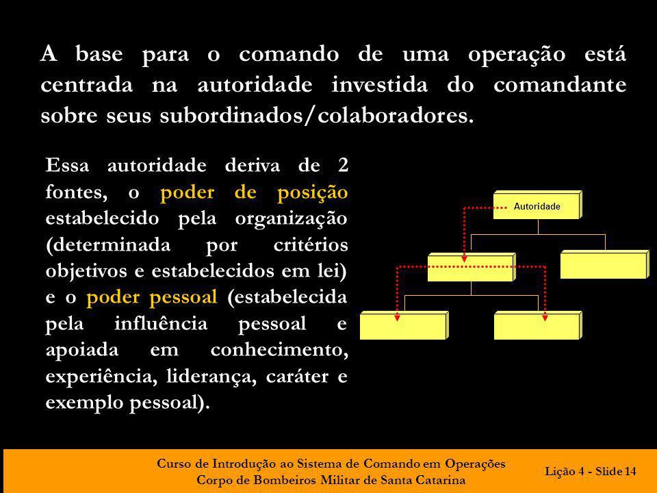 A base para o comando de uma operação está centrada na autoridade investida do comandante sobre seus subordinados/colaboradores.