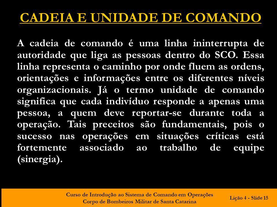 CADEIA E UNIDADE DE COMANDO