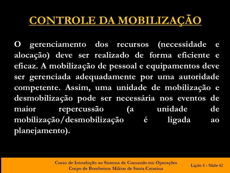 CONTROLE DA MOBILIZAÇÃO