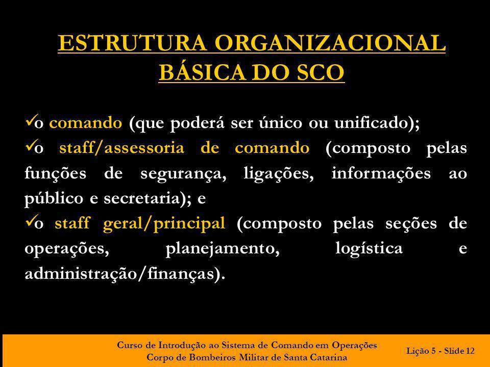 ESTRUTURA ORGANIZACIONAL BÁSICA DO SCO