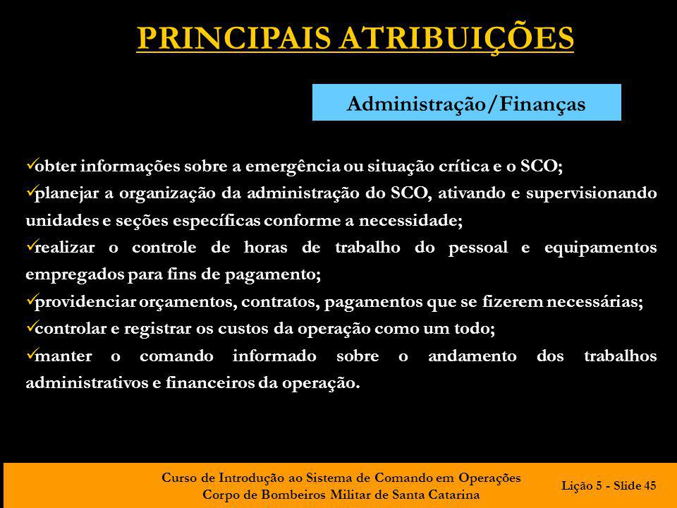 PRINCIPAIS ATRIBUIÇÕES Administração/Finanças