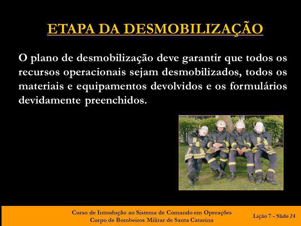 ETAPA DA DESMOBILIZAÇÃO
