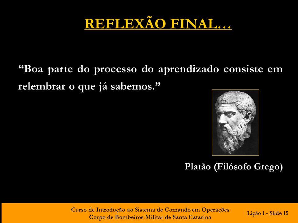 REFLEXÃO FINAL… Boa parte do processo do aprendizado consiste em relembrar o que já sabemos. Platão (Filósofo Grego)