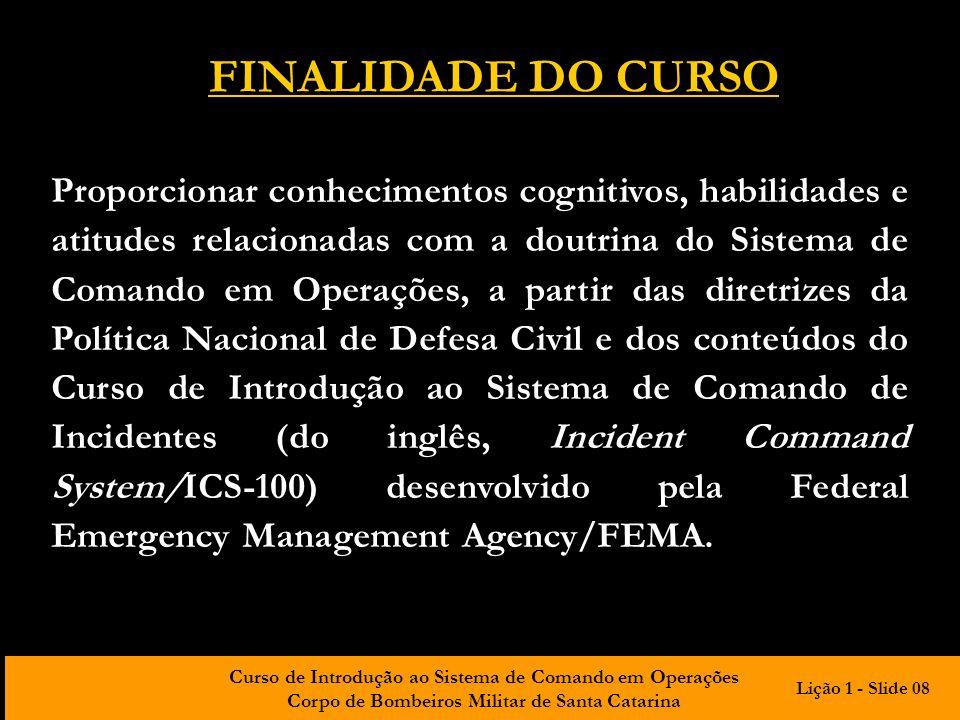 FINALIDADE DO CURSO