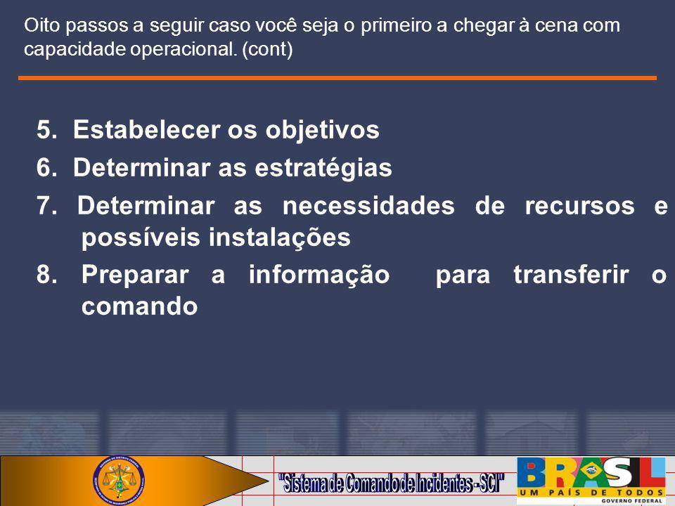 5. Estabelecer os objetivos 6. Determinar as estratégias
