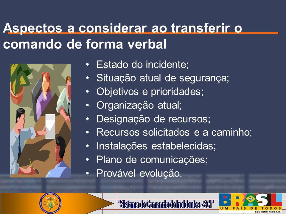 Aspectos a considerar ao transferir o comando de forma verbal