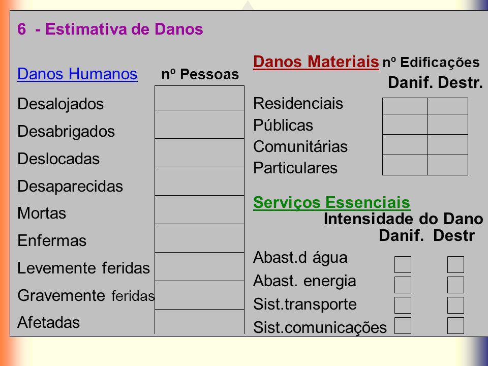 6 - Estimativa de Danos Danos Materiais nº Edificações. Danif. Destr. Residenciais. Públicas. Comunitárias.