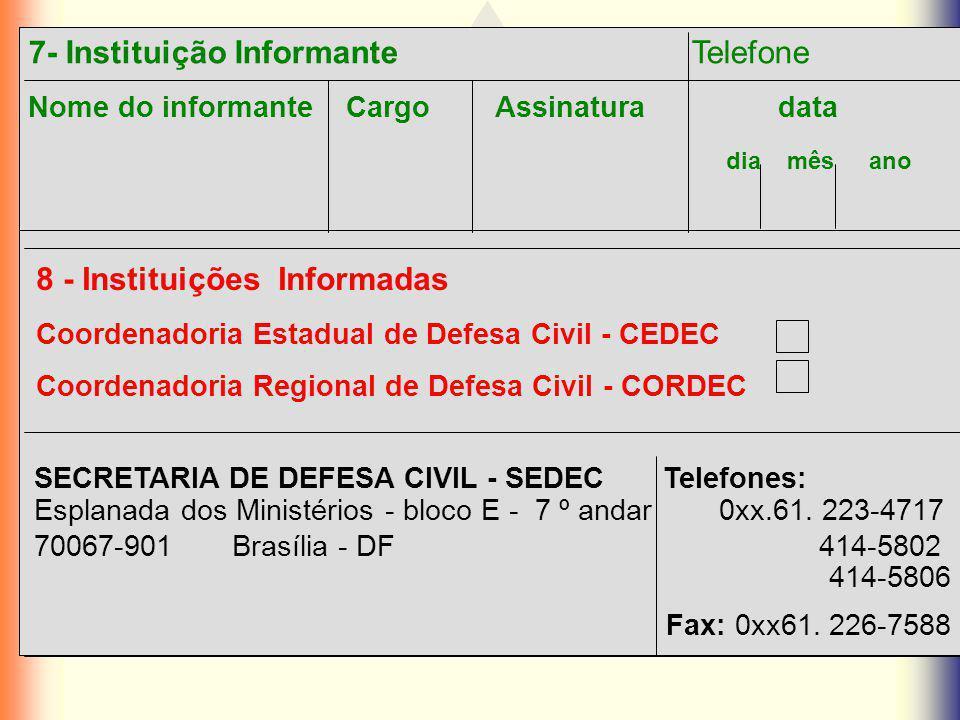 7- Instituição Informante Telefone