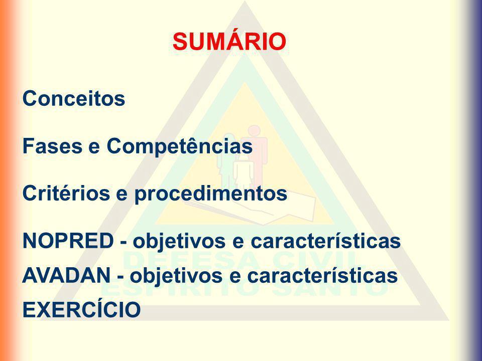 SUMÁRIO Conceitos Fases e Competências Critérios e procedimentos