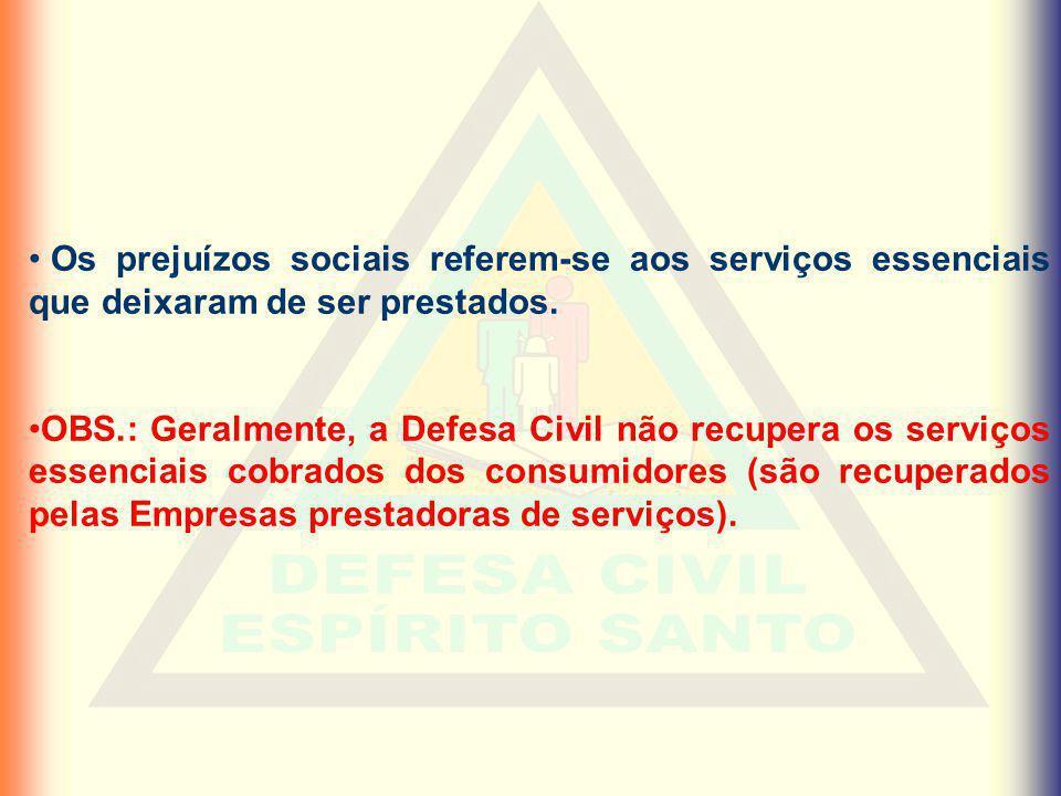 Os prejuízos sociais referem-se aos serviços essenciais que deixaram de ser prestados.