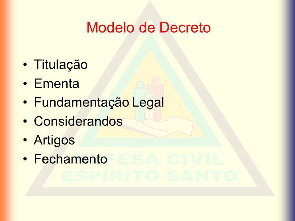 Modelo de Decreto Titulação Ementa Fundamentação Legal Considerandos