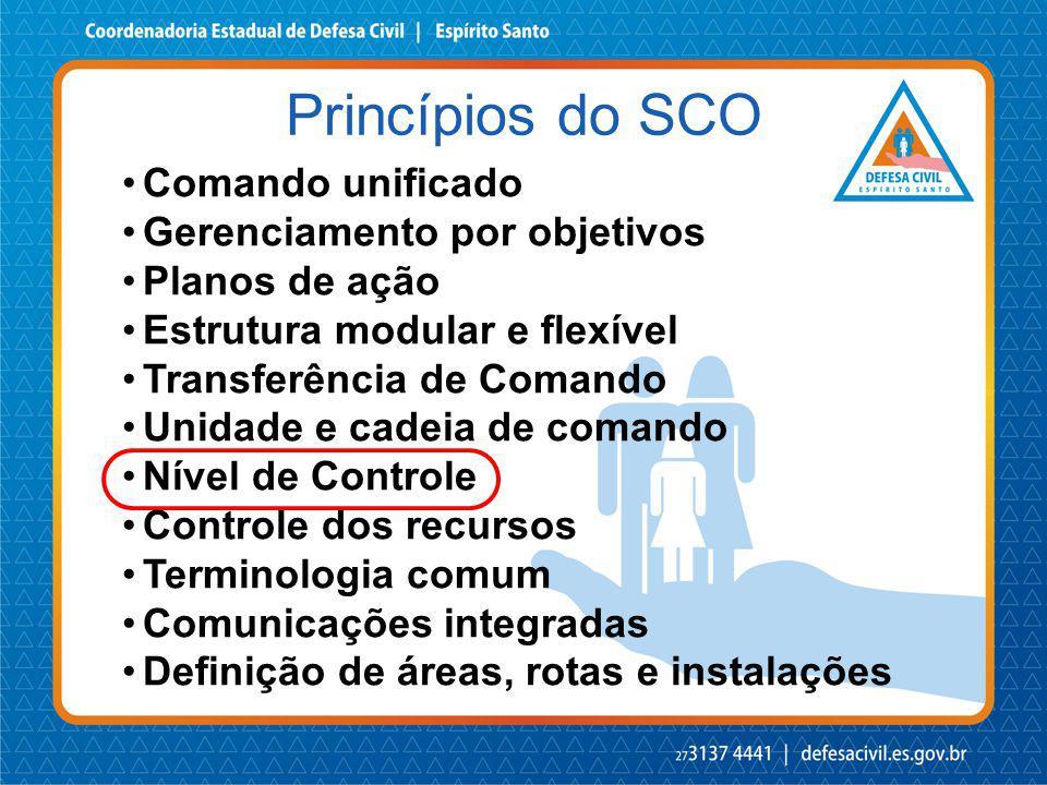 Princípios do SCO Comando unificado Gerenciamento por objetivos