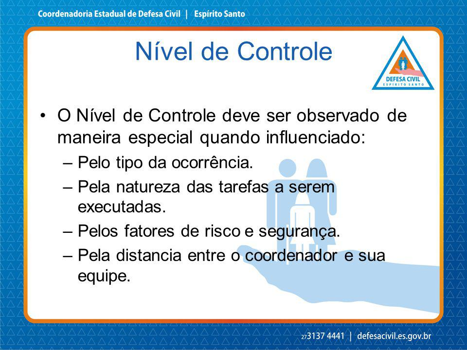 Nível de Controle O Nível de Controle deve ser observado de maneira especial quando influenciado: Pelo tipo da ocorrência.