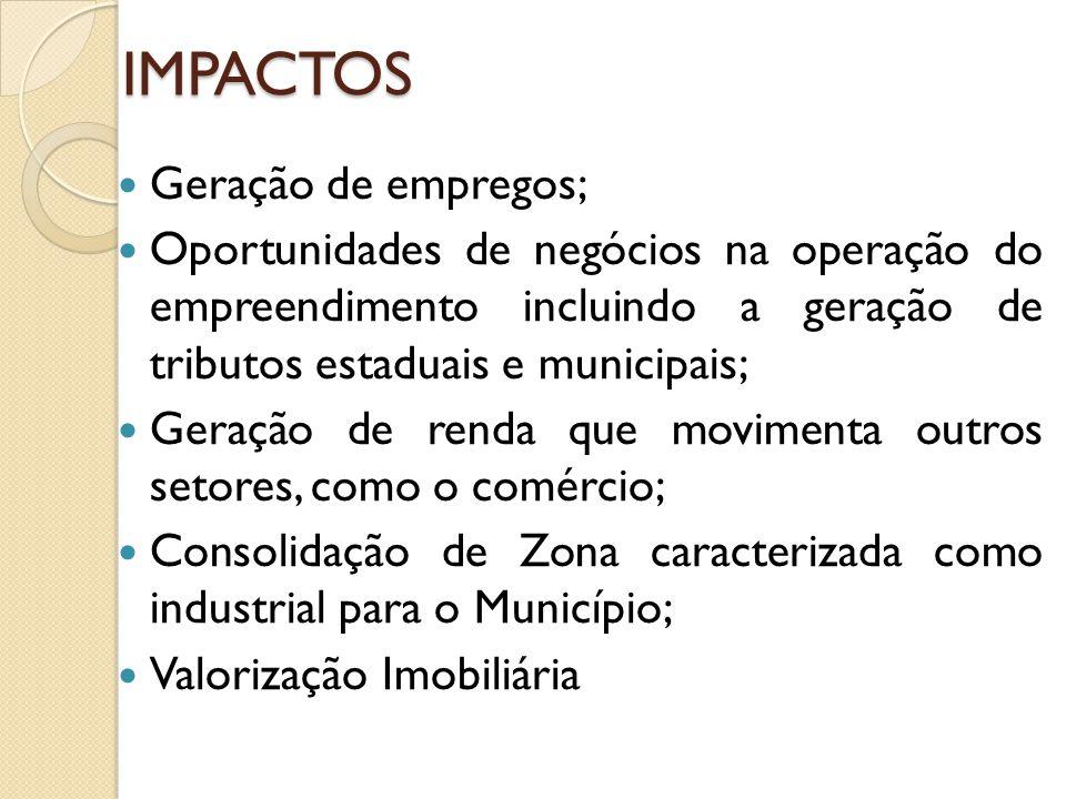 IMPACTOS Geração de empregos;