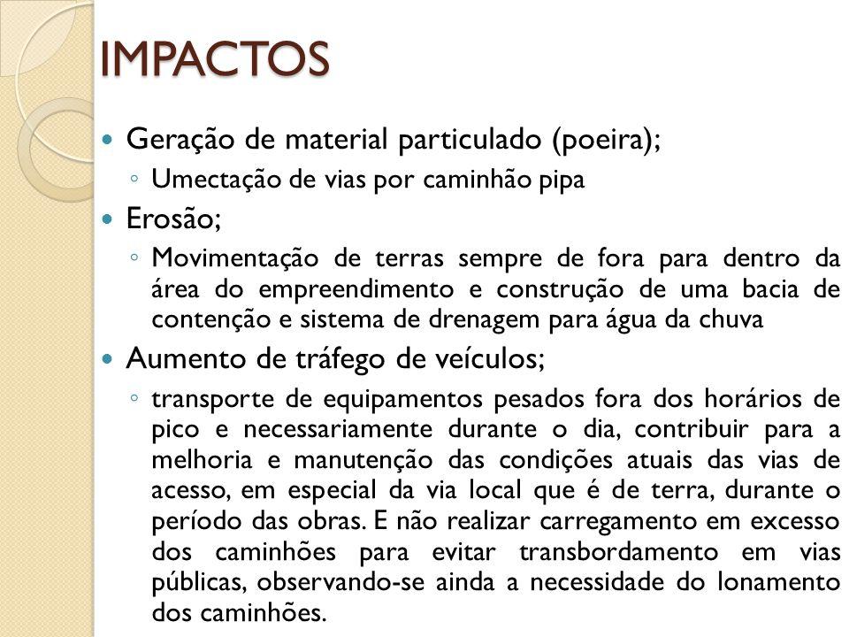 IMPACTOS Geração de material particulado (poeira); Erosão;