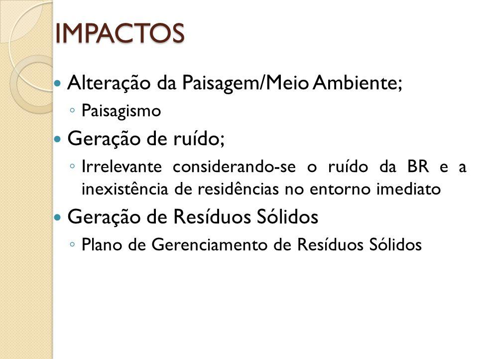 IMPACTOS Alteração da Paisagem/Meio Ambiente; Geração de ruído;