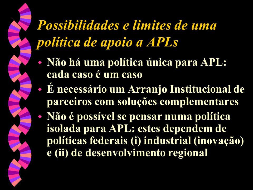 Possibilidades e limites de uma política de apoio a APLs