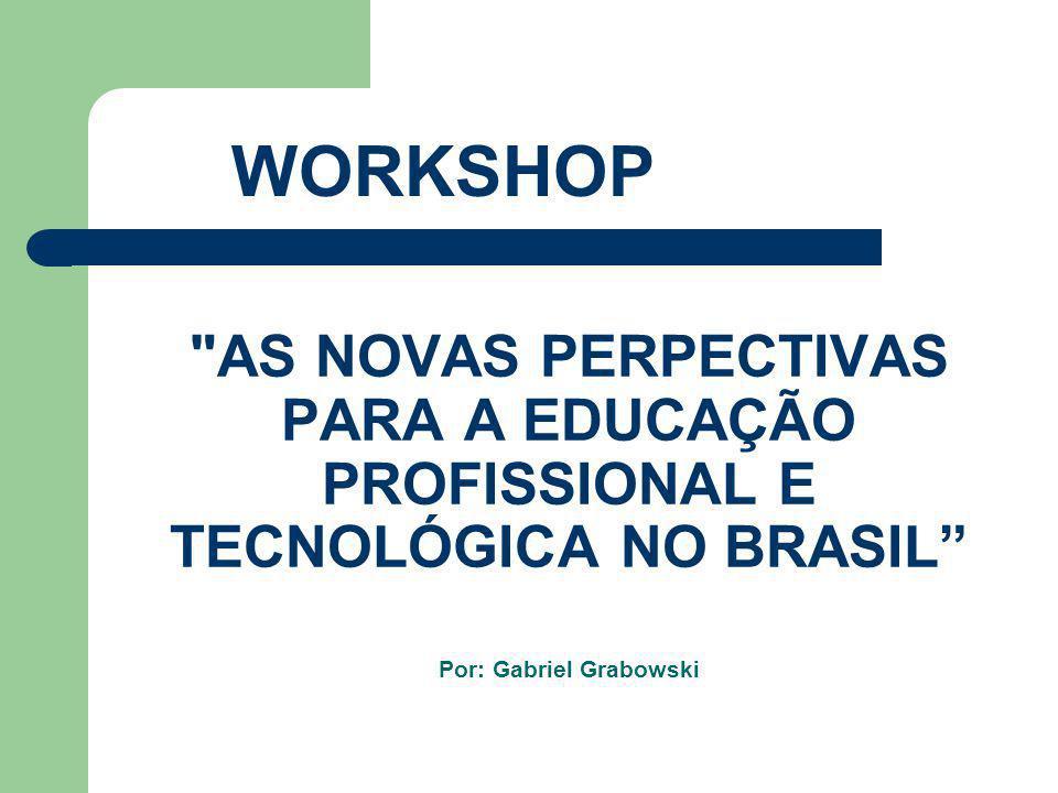 WORKSHOP AS NOVAS PERPECTIVAS PARA A EDUCAÇÃO PROFISSIONAL E TECNOLÓGICA NO BRASIL Por: Gabriel Grabowski.
