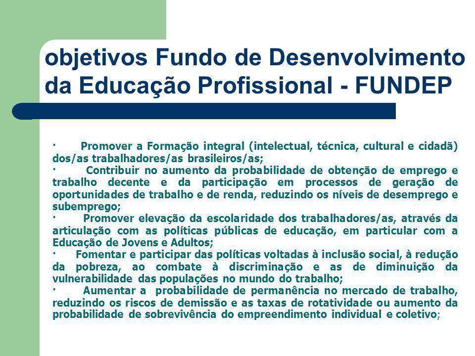 objetivos Fundo de Desenvolvimento da Educação Profissional - FUNDEP