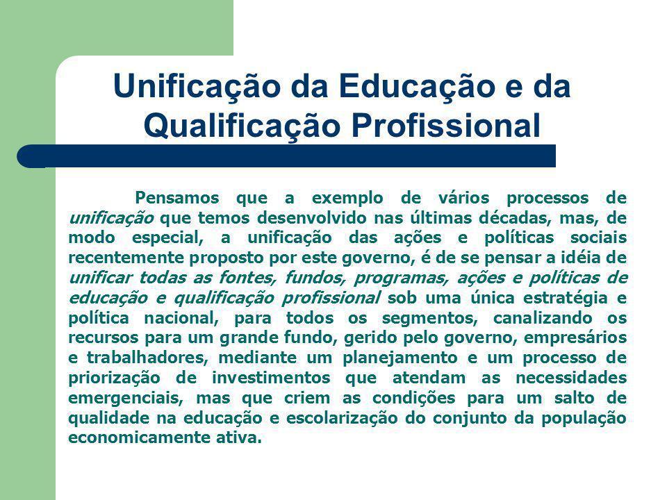 Unificação da Educação e da Qualificação Profissional