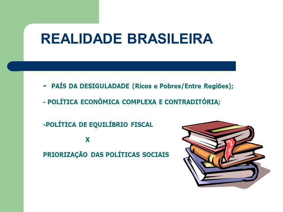 REALIDADE BRASILEIRA - PAÍS DA DESIGULADADE (Ricos e Pobres/Entre Regiões); - POLÍTICA ECONÔMICA COMPLEXA E CONTRADITÓRIA;