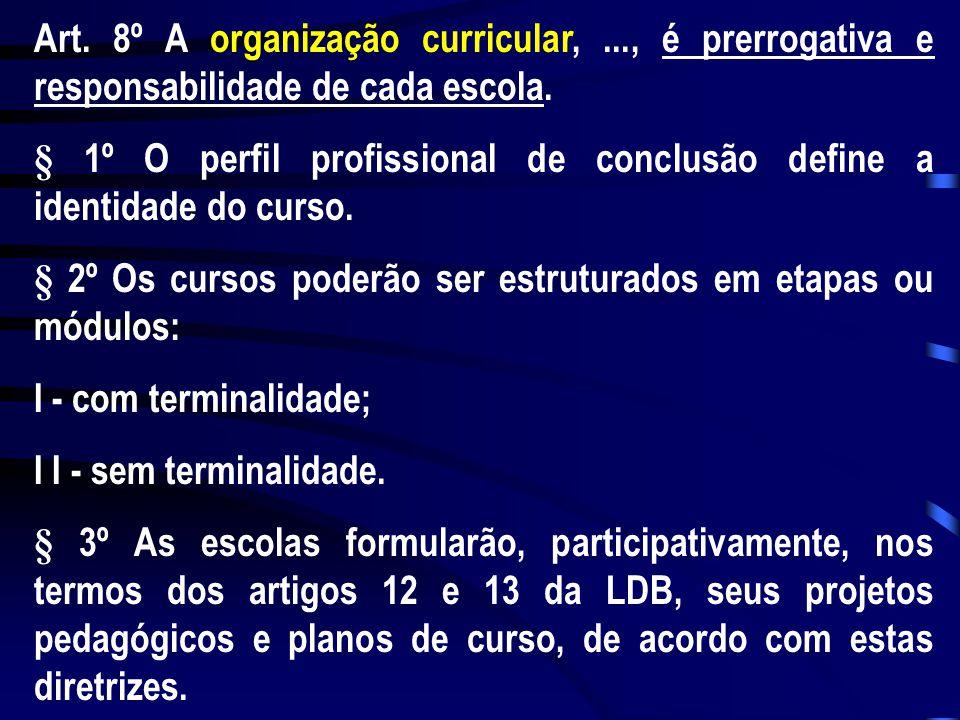 Art. 8º A organização curricular,