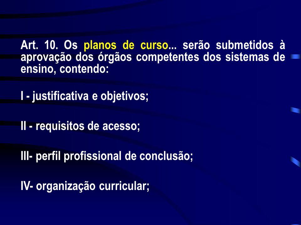 Art. 10. Os planos de curso... serão submetidos à aprovação dos órgãos competentes dos sistemas de ensino, contendo: