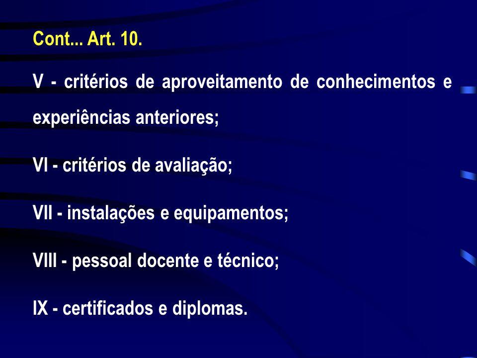 Cont... Art. 10. V - critérios de aproveitamento de conhecimentos e experiências anteriores; VI - critérios de avaliação;