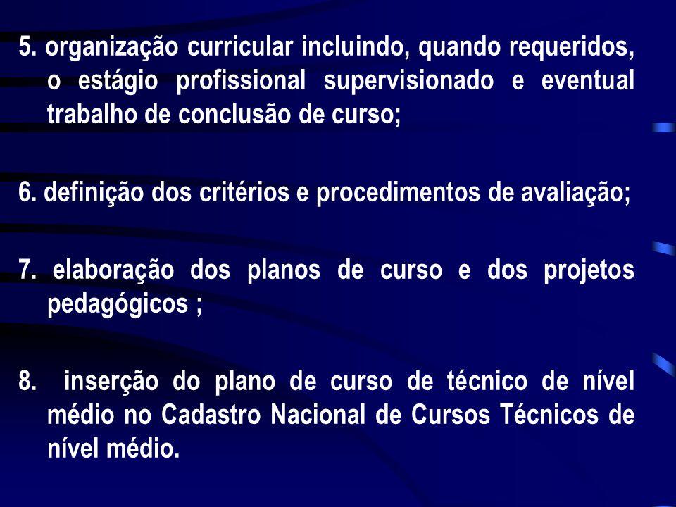 5. organização curricular incluindo, quando requeridos, o estágio profissional supervisionado e eventual trabalho de conclusão de curso;