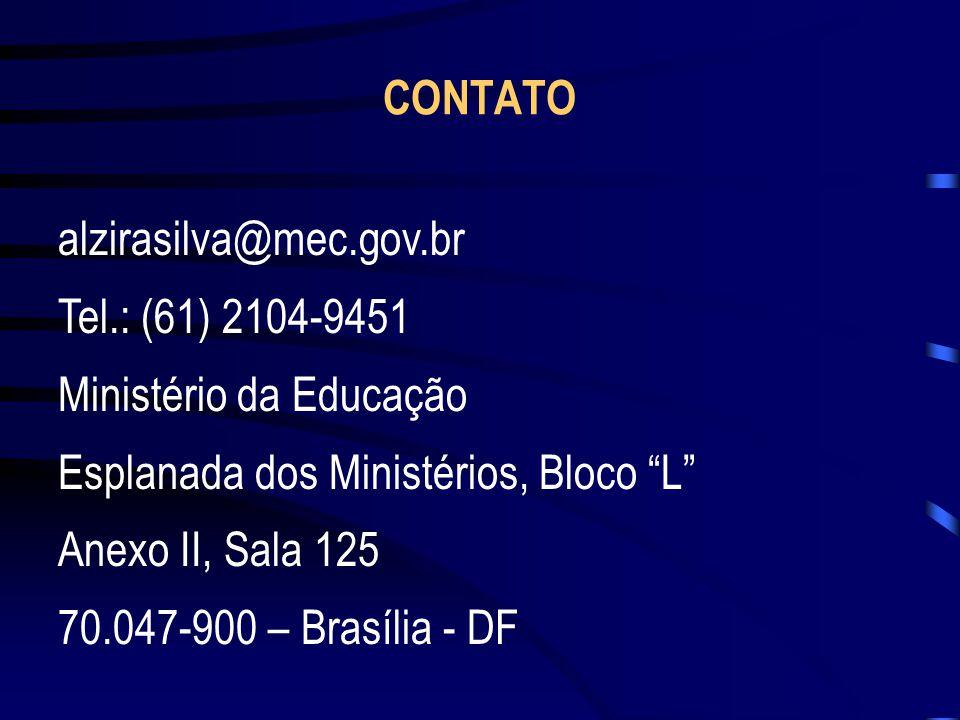 CONTATO alzirasilva@mec.gov.br. Tel.: (61) 2104-9451. Ministério da Educação. Esplanada dos Ministérios, Bloco L