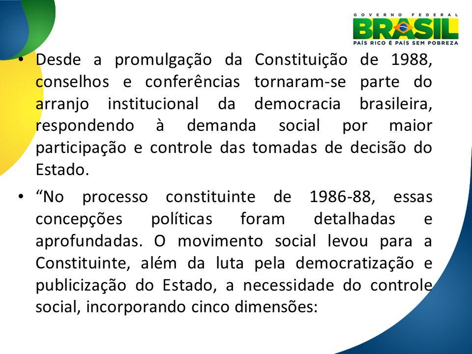 Desde a promulgação da Constituição de 1988, conselhos e conferências tornaram-se parte do arranjo institucional da democracia brasileira, respondendo à demanda social por maior participação e controle das tomadas de decisão do Estado.