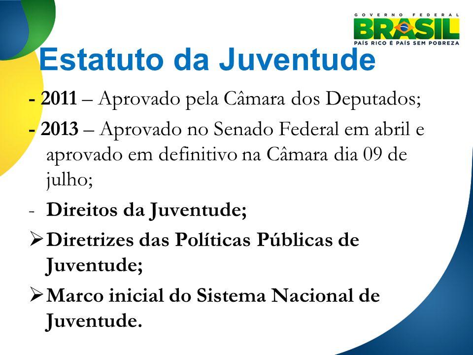 Estatuto da Juventude - 2011 – Aprovado pela Câmara dos Deputados;