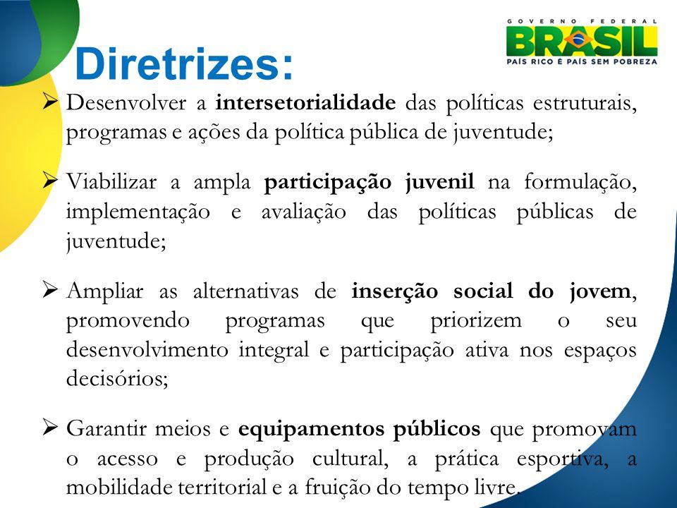 Diretrizes: Desenvolver a intersetorialidade das políticas estruturais, programas e ações da política pública de juventude;