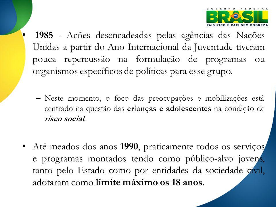 1985 - Ações desencadeadas pelas agências das Nações Unidas a partir do Ano Internacional da Juventude tiveram pouca repercussão na formulação de programas ou organismos específicos de políticas para esse grupo.