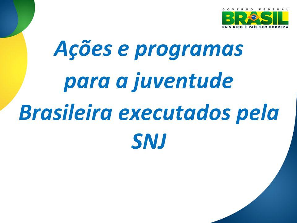 Ações e programas para a juventude Brasileira executados pela SNJ