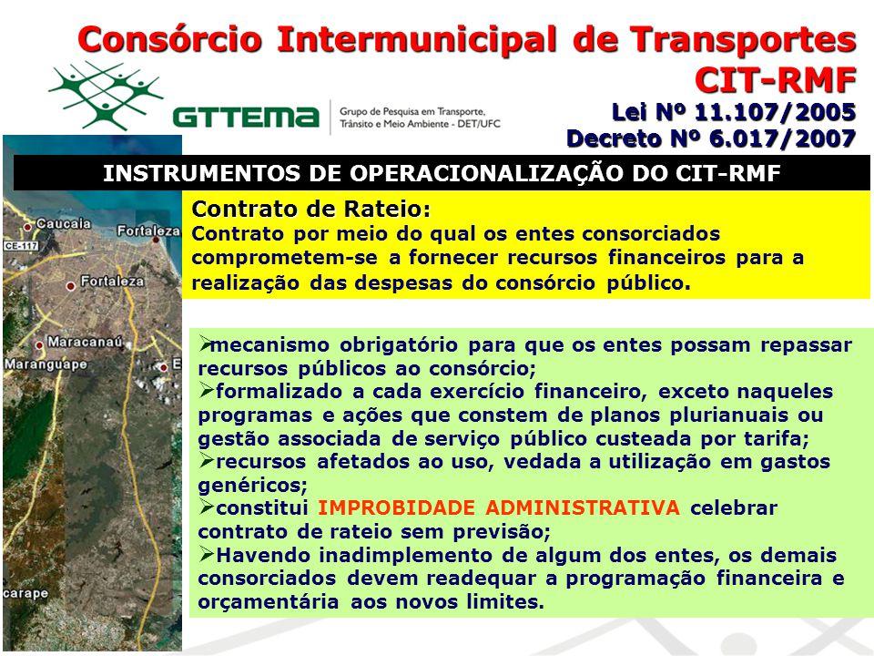 INSTRUMENTOS DE OPERACIONALIZAÇÃO DO CIT-RMF