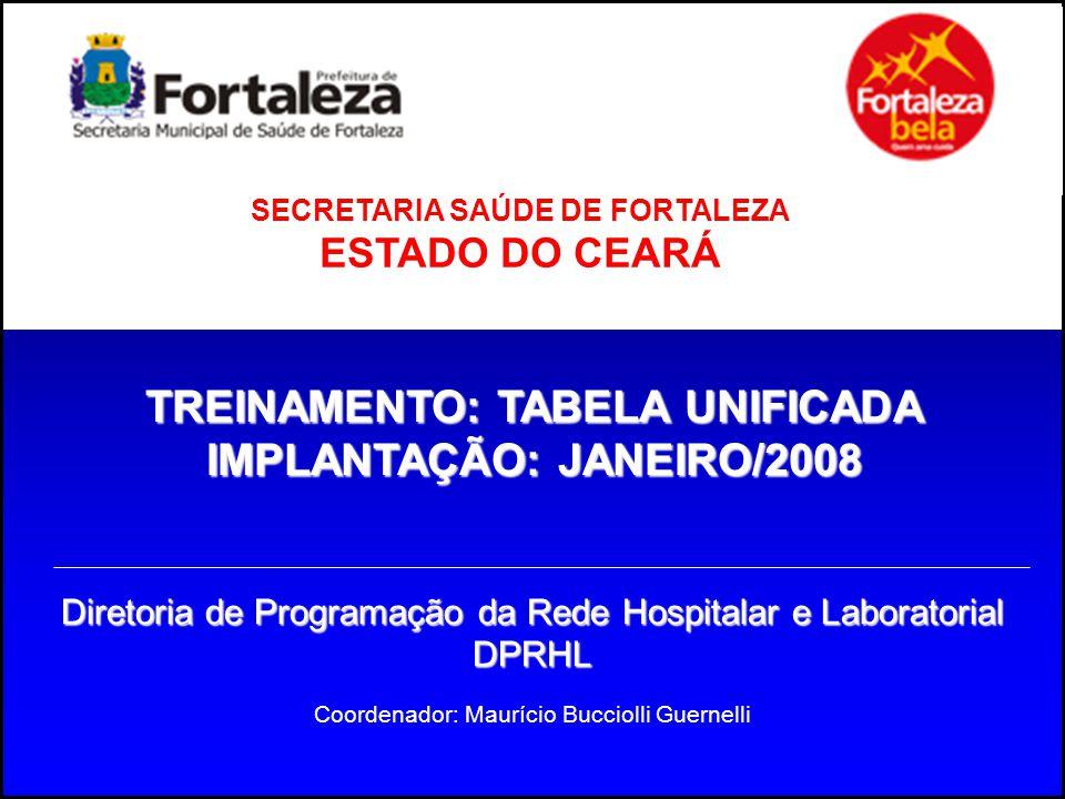 TREINAMENTO: TABELA UNIFICADA IMPLANTAÇÃO: JANEIRO/2008