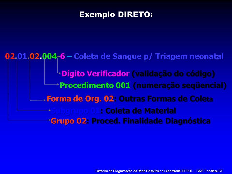 Exemplo DIRETO: Diretoria de Programação da Rede Hospitalar e Laboratorial DPRHL - SMS Fortaleza/CE.