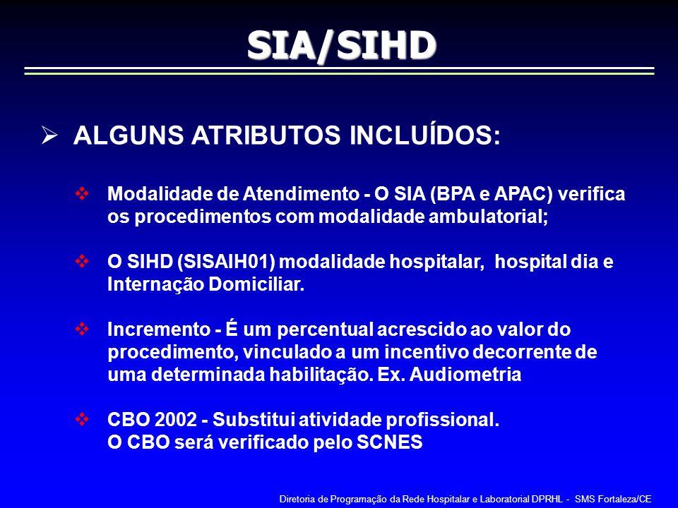 SIA/SIHD ALGUNS ATRIBUTOS INCLUÍDOS: