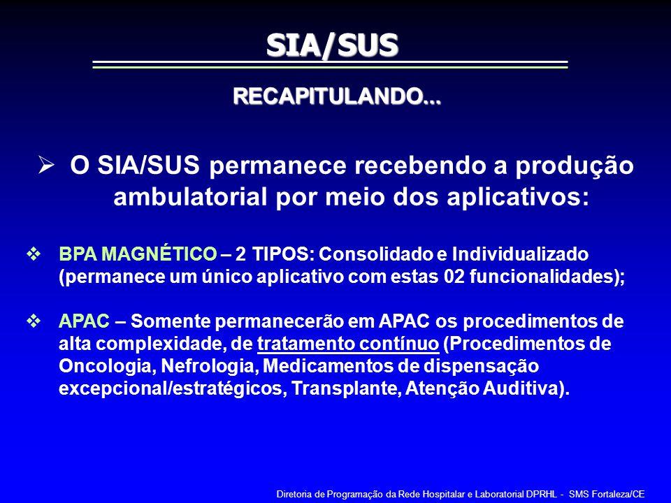 SIA/SUS RECAPITULANDO... O SIA/SUS permanece recebendo a produção ambulatorial por meio dos aplicativos: