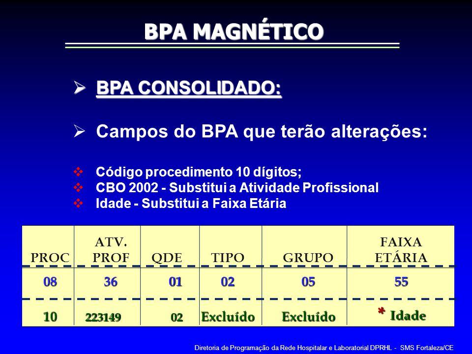 BPA MAGNÉTICO BPA CONSOLIDADO: Campos do BPA que terão alterações:
