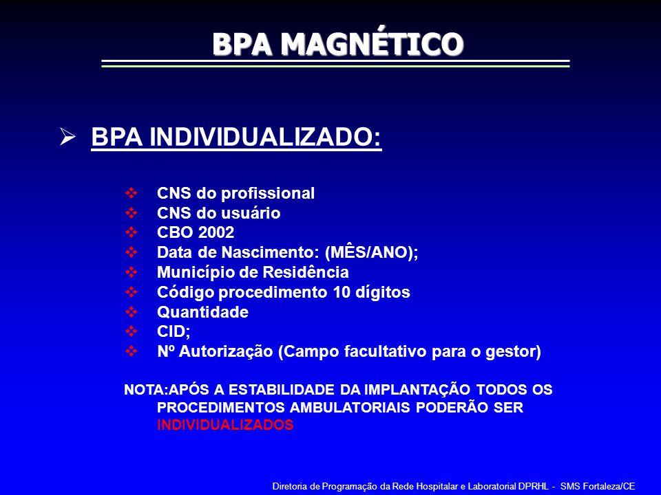 BPA MAGNÉTICO BPA INDIVIDUALIZADO: CNS do profissional CNS do usuário