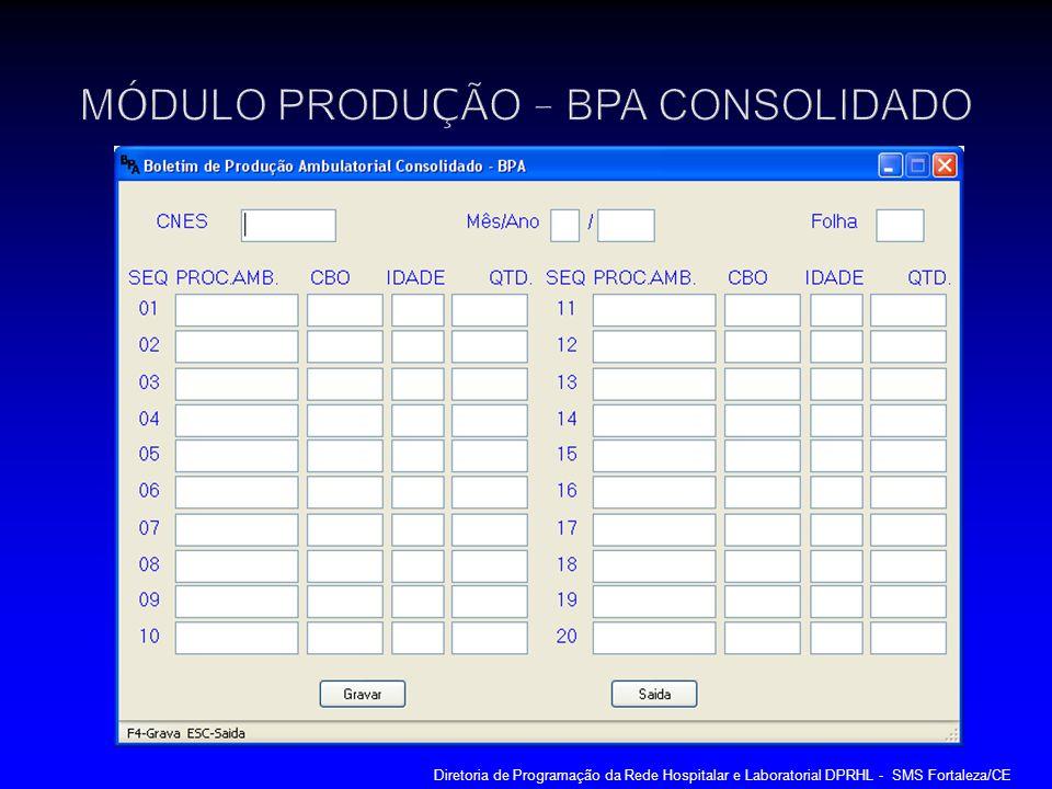 MÓDULO PRODUÇÃO – BPA CONSOLIDADO