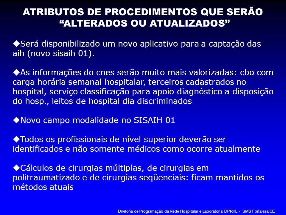 ATRIBUTOS DE PROCEDIMENTOS QUE SERÃO ALTERADOS OU ATUALIZADOS