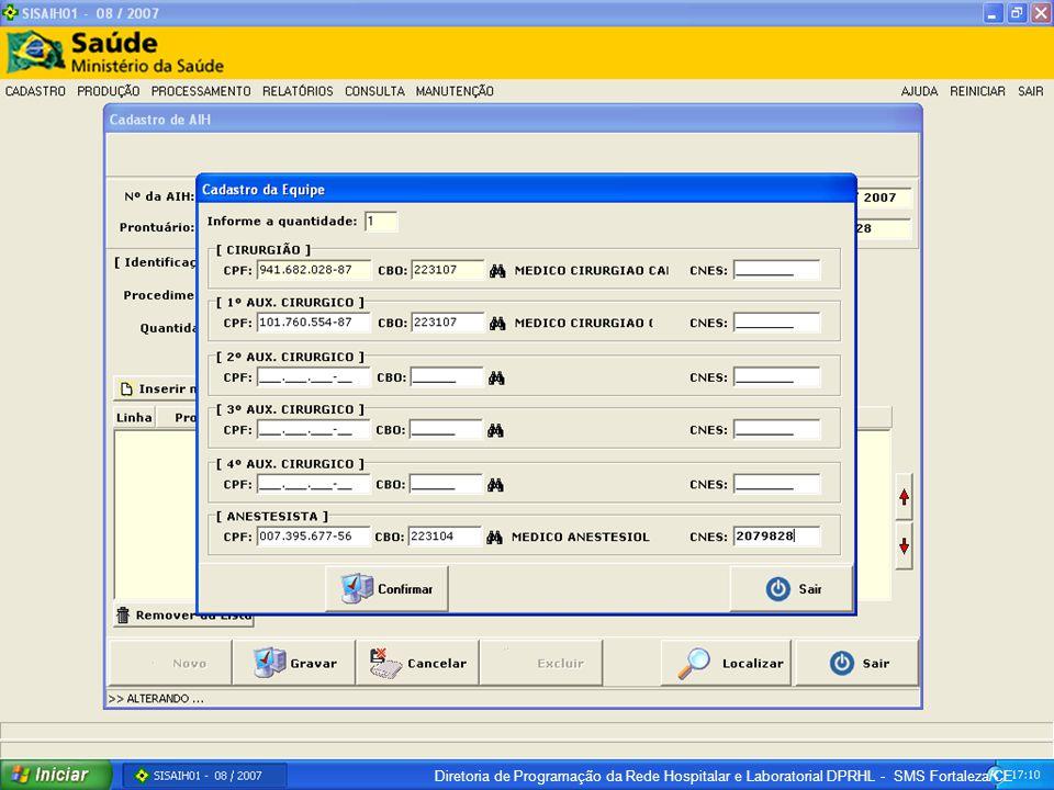 Diretoria de Programação da Rede Hospitalar e Laboratorial DPRHL - SMS Fortaleza/CE