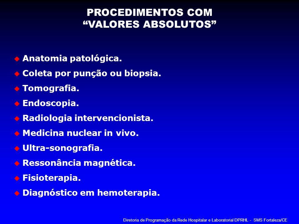 PROCEDIMENTOS COM VALORES ABSOLUTOS Anatomia patológica.
