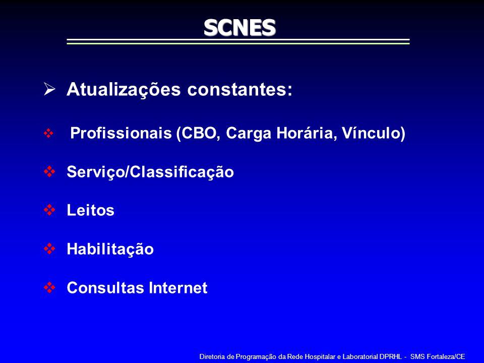 SCNES Atualizações constantes: Serviço/Classificação Leitos