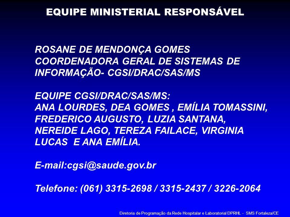 EQUIPE MINISTERIAL RESPONSÁVEL