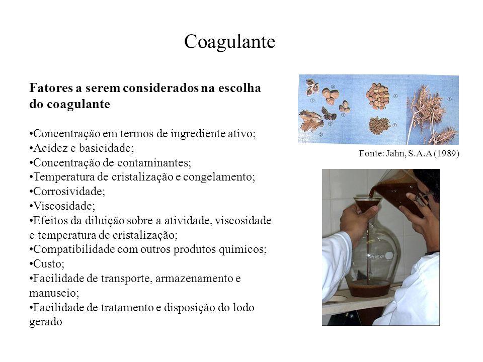 Coagulante Fatores a serem considerados na escolha do coagulante