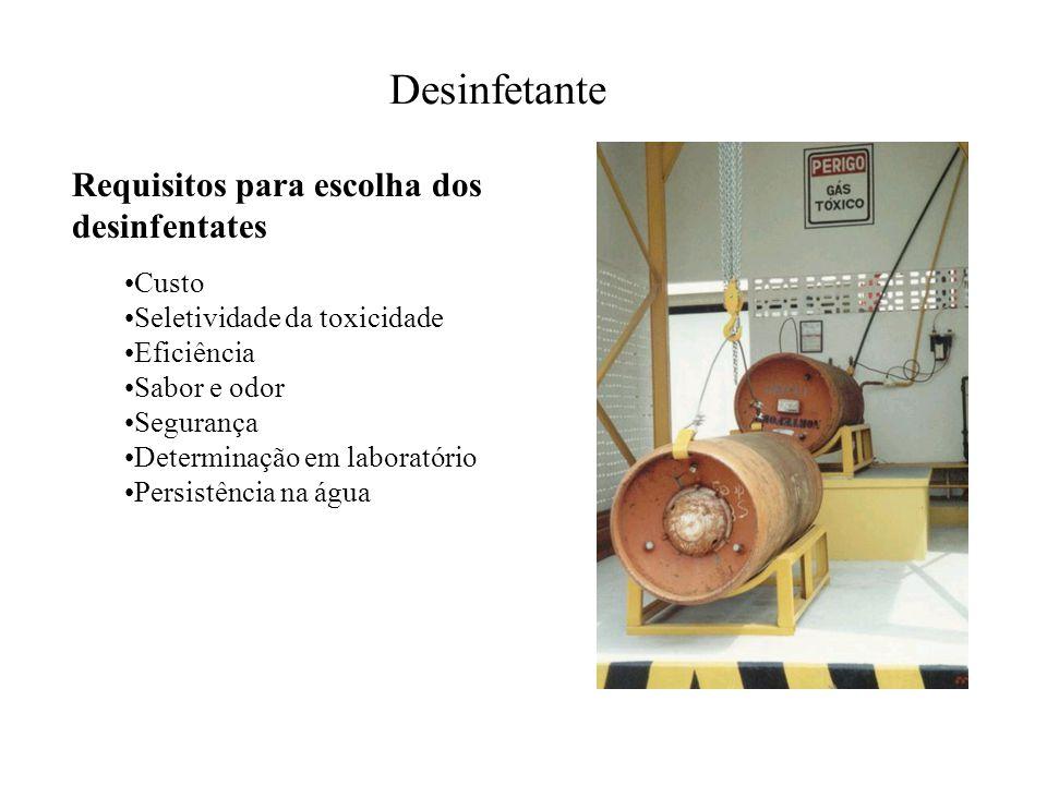Desinfetante Requisitos para escolha dos desinfentates Custo